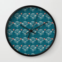 Mongolia Sunset Forest Wall Clock