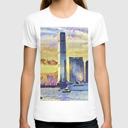Hong Kong International Commerce Centre Artistic Illustration Epic Light Style T-shirt