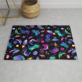 Dinosaur Astronauts In Space Pink Watercolor Pattern Rug