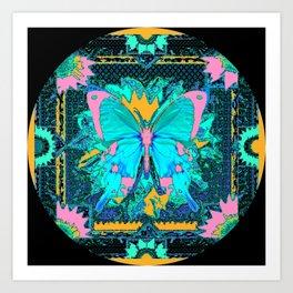 Blue Satin Pink Butterfly Black Designs Art Print