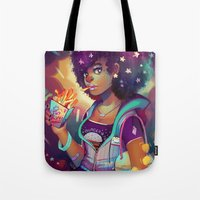french fries Tote Bags featuring Starry Eyes & French Fries by GDBEE