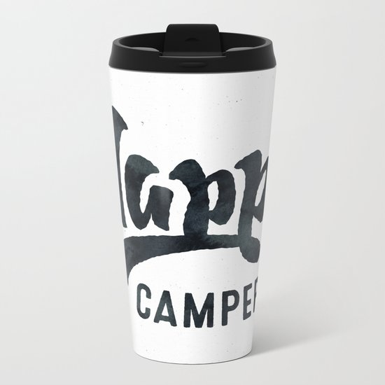 HAPPY CAMPER Black and White Retro Metal Travel Mug