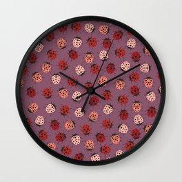 All over Modern Ladybug on Mauve Pink Background Wall Clock