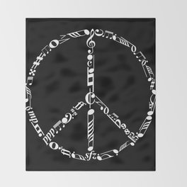 Music peace - inverted Throw Blanket