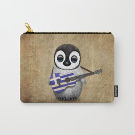 Baby Penguin Playing Greek Flag Guitar Carry-All Pouch