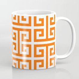 Orange and White Greek Key Pattern Coffee Mug