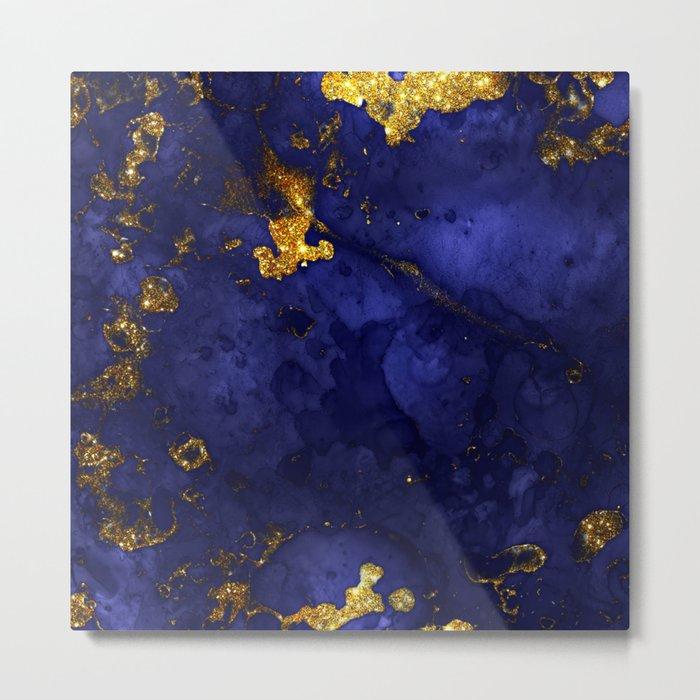Gold Blue Indigo Malachite Marble Metal Print