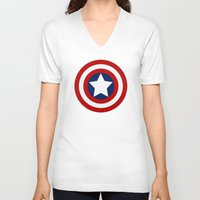 superhero V-neck T-shirts featuring Superhero captain by Yuliya L