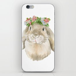 Lop Rabbit Floral Wreath Watercolor Painting iPhone Skin