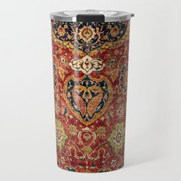 Indian Boho II // 16th Century Distressed Red Green Blue Flowery Colorful Ornate Rug Pattern Travel Mug