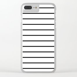 Black and White Stripes - Thin Black Wide White Clear iPhone Case