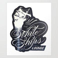 The White Ships Lounge Art Print