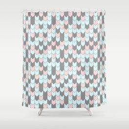 Modern coral teal gray geometrical zigzag chevron Shower Curtain