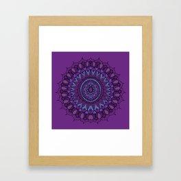 Bohemian Mandala in Plum with Turquoise Framed Art Print