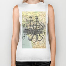 Octopus Attacks Ship on map background Biker Tank