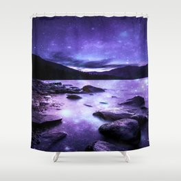 Magical Mountain Lake Purple Shower Curtain