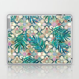 Muted Moroccan Mosaic Tiles with Palm Leaves Laptop & iPad Skin