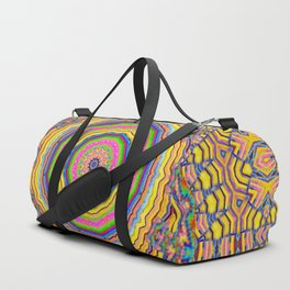 wood festive rainbow mandala Duffle Bag
