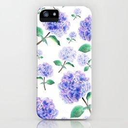 purple blue hydrangea pattern iPhone Case