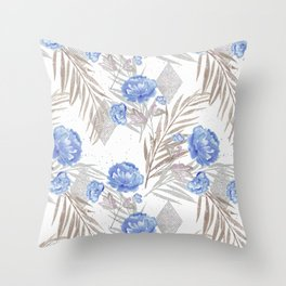 Blue flowers on a white background. Throw Pillow