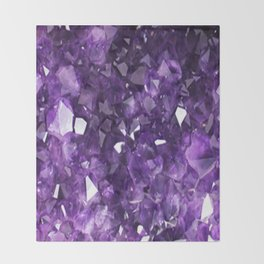 FEBRUARY PURPLE AMETHYST CRYSTALS BIRTHSTONE Throw Blanket