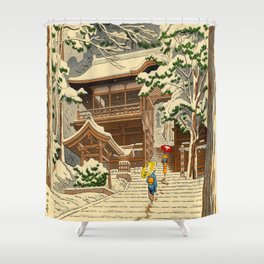 Asano Takeji Snow In Yuki Shrine Vintage Japanese Woodblock Print East Asian Beautiful Art Shower Curtain