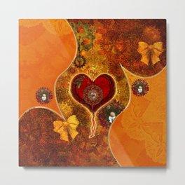 Steampunk, wonderful steam heart Metal Print