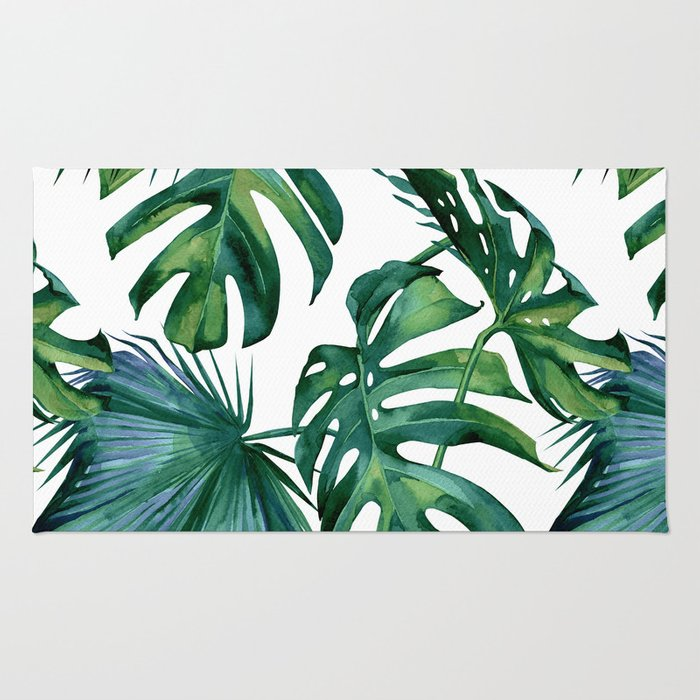 Classic Palm Leaves Tropical Jungle Green Rug