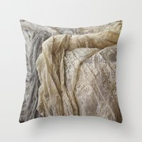 lace Throw Pillows featuring Lace by Jillian Audrey