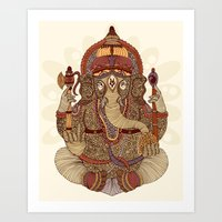 ganesha Art Prints featuring Ganesha: Lord of Success by Valentina Harper