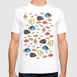 Tropical Fish on White - pattern T-shirt