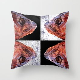 Dead Fish Face Abstract Four Mummy Throw Pillow