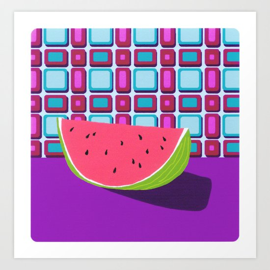 Fruit with Wallpaper (watermelon) Art Print