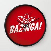 bazinga Wall Clocks featuring Atom Bazinga! by Nxolab