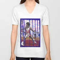 nba V-neck T-shirts featuring NBA PLAYERS - Julius Erving by Ibbanez