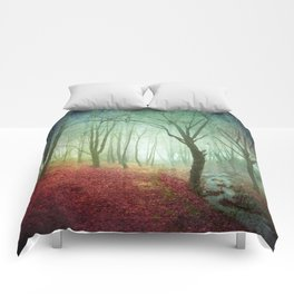 Misty Forest and Creek in Fall Comforters