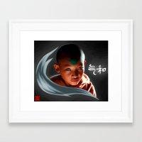 aang Framed Art Prints featuring Avatar Aang by Han Jihye