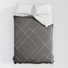 Overlapping Diamond Lines on Charcoal Gray Comforters