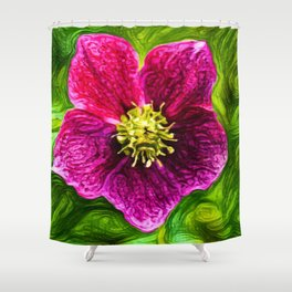 Hellebores Christmas Rose | Painting Shower Curtain