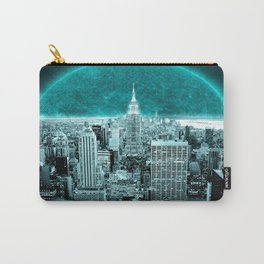 New New York Another World Aqua Teal Carry-All Pouch