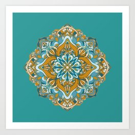 GOLDEN -GREEN VECTOR MANDALA Art Print