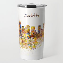 Charlotte Watercolor Skyline Travel Mug