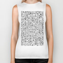 Hieroglyphics B&W / Ancient Egyptian hieroglyphics pattern Biker Tank