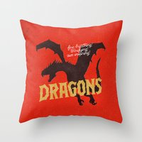 dragons Throw Pillows featuring Dragons by WEAREYAWN