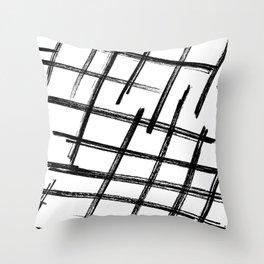 Criss Cross B+W Print Throw Pillow