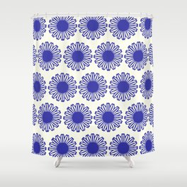 vintage flowers blue  Shower Curtain