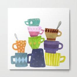 Coffee And Tea Cups And Mugs Stacked High Metal Print