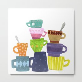 Coffee And Tea Cups And Mugs Stacked High Metal Print