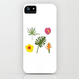 Jungle / Tropical Pattern in white iPhone Case