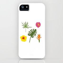 Jungle / Tropical Pattern in white iPhone Case